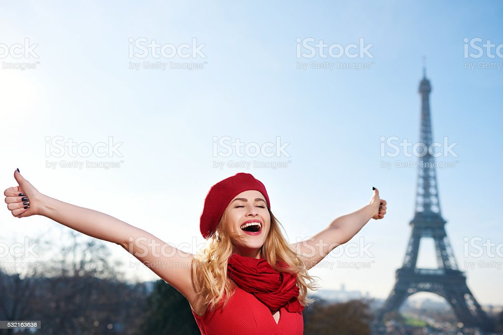 thumbs up for Paris stock photo
