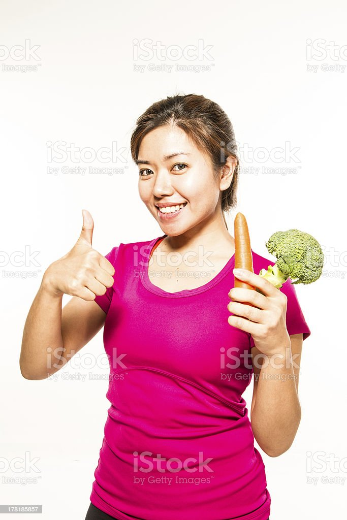 Thumbs up for Veg stock photo