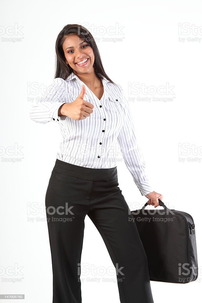 Thumbs up great job from beautiful successful young business woman royalty-free stock photo