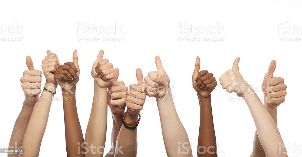 Thumbs Up Hands Raised stock photo