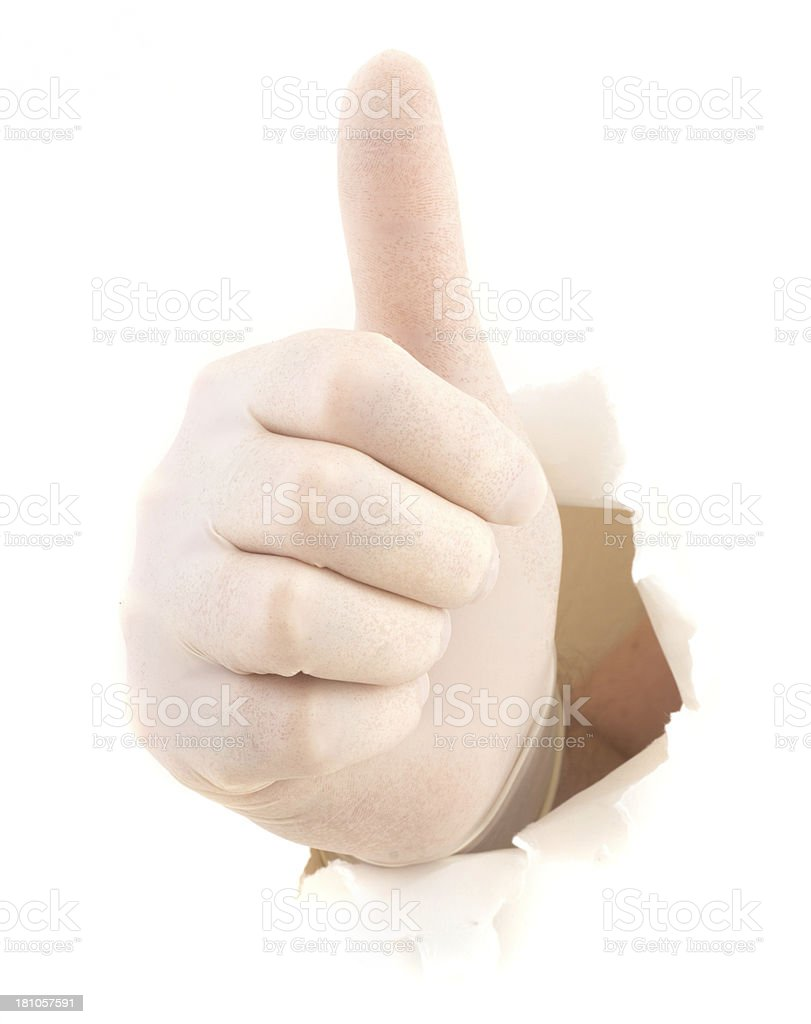 thumbs up in white glove royalty-free stock photo