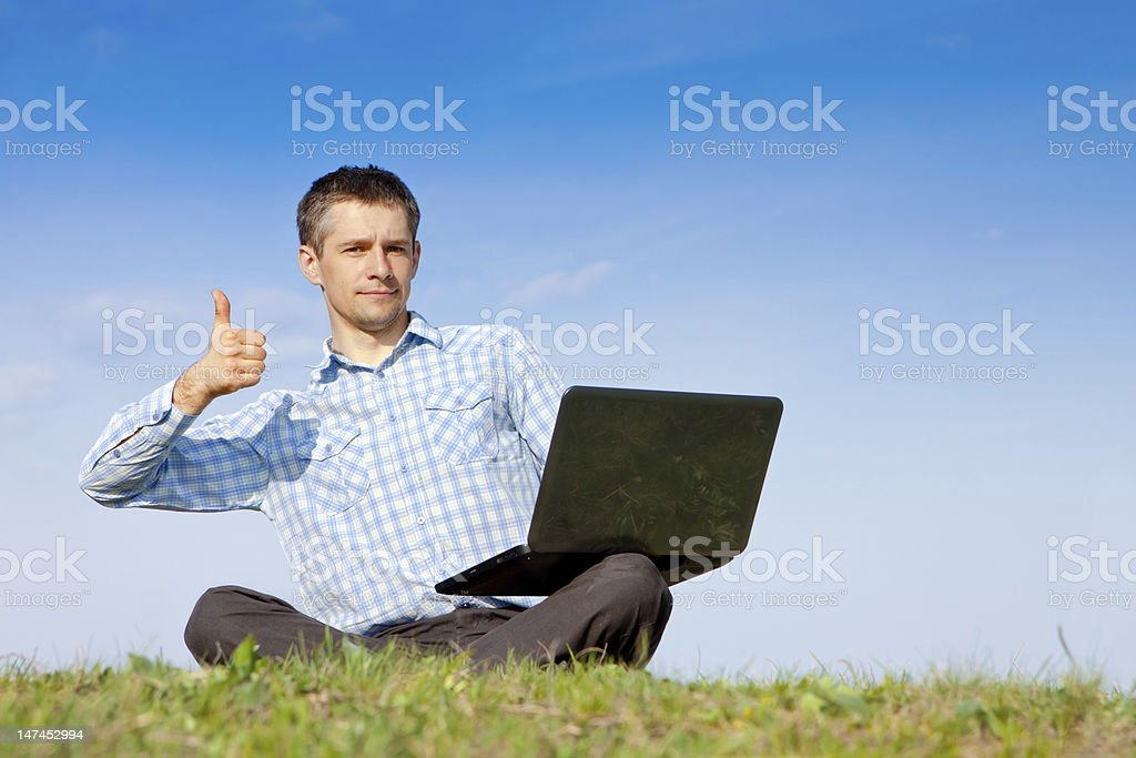 Thumbs Up man working outdoors royalty-free stock photo