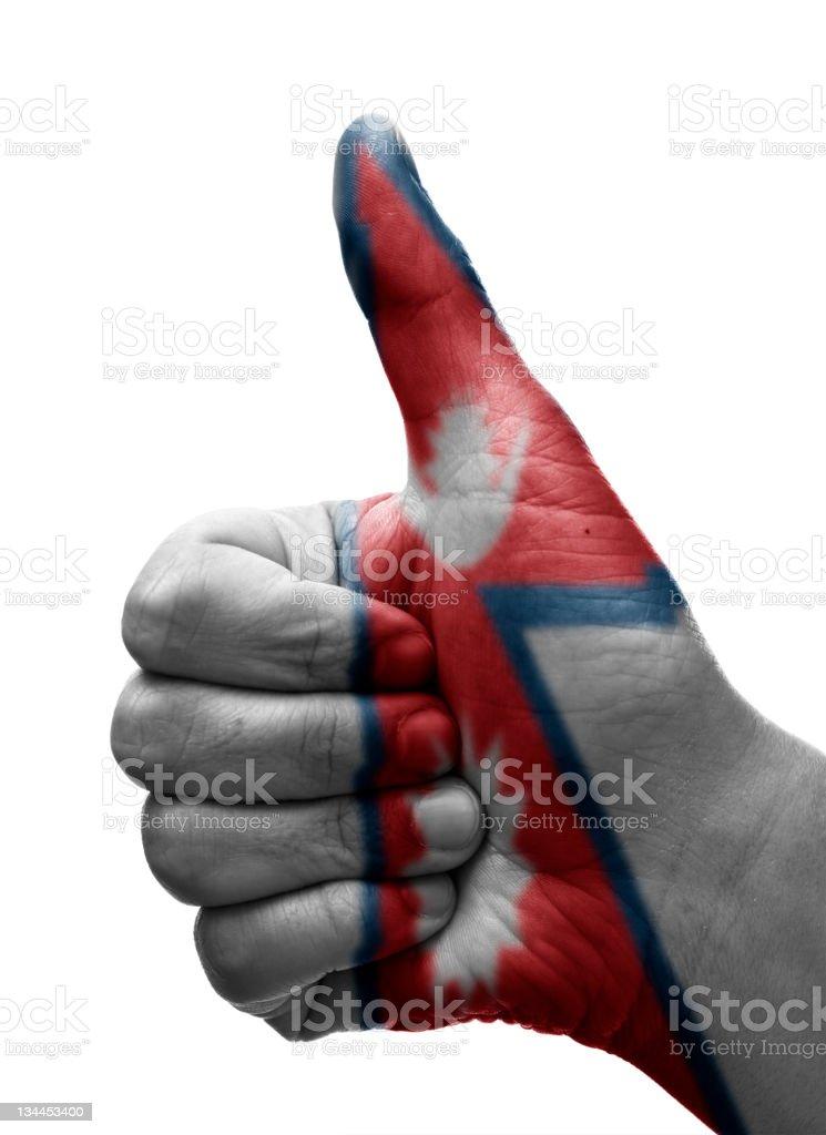 Thumbs up Nepal stock photo