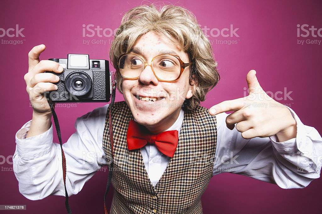 Thumbs Up Nerdy Young Man Photographer with Glasses royalty-free stock photo
