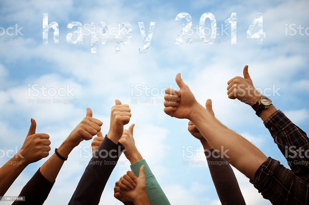 Thumbs Up New Year 2014 royalty-free stock photo