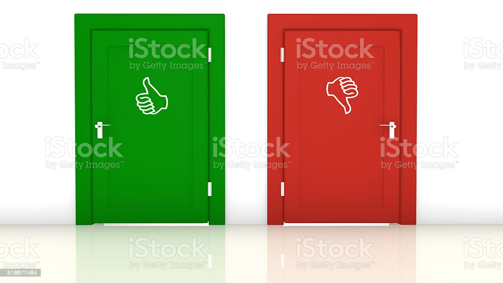 Thumbs up or down stock photo