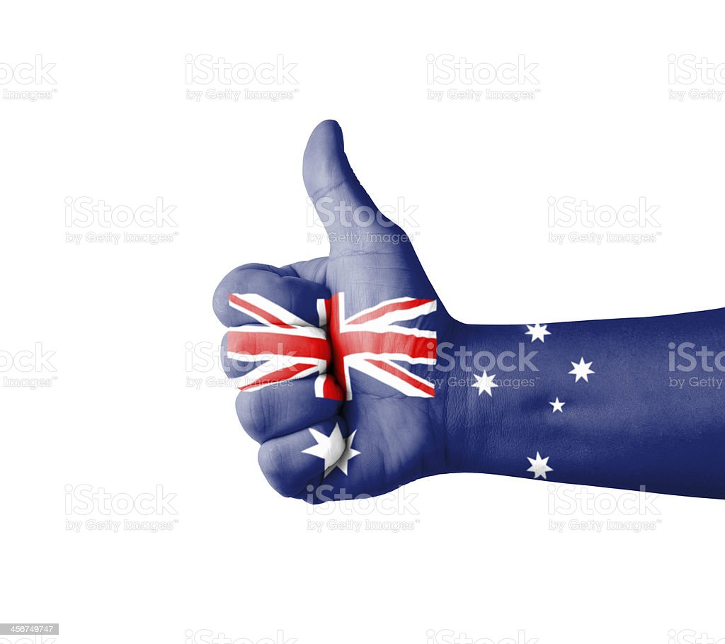 Thumbs up painted to resemble Australian flag stock photo
