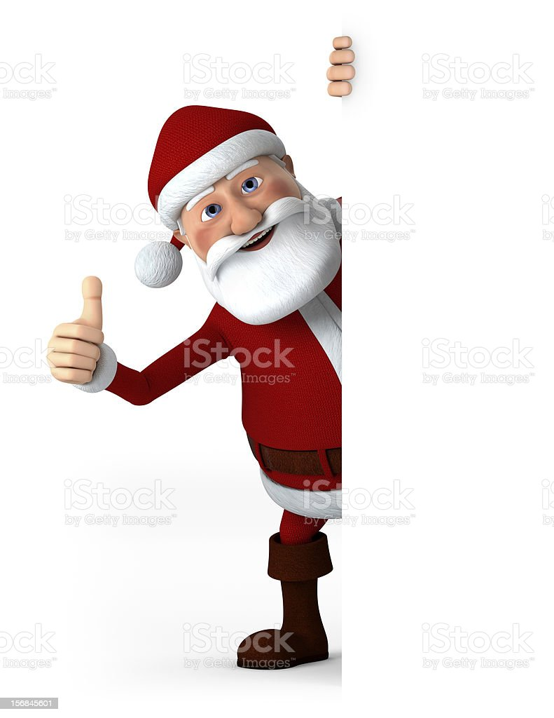 Thumbs up Santa with blank sign royalty-free stock photo