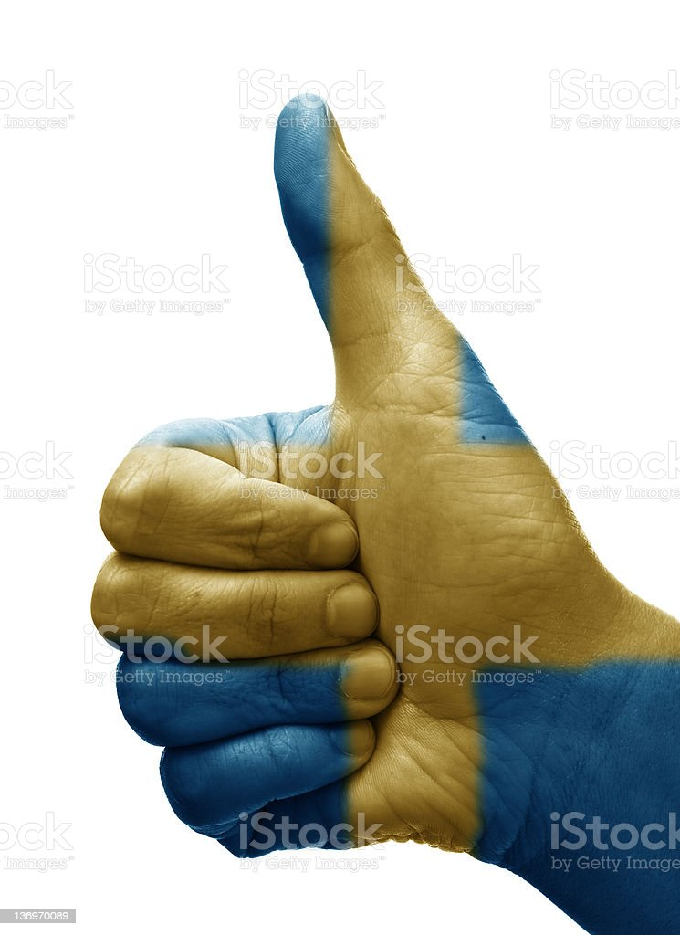Thumbs up Sweden stock photo