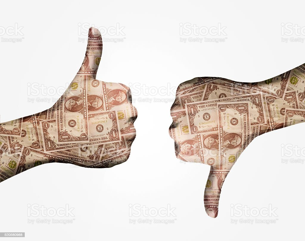 Thumbs up, Thumbs down, hands gesture, white background stock photo