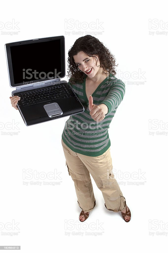 Thumbs up to laptops royalty-free stock photo