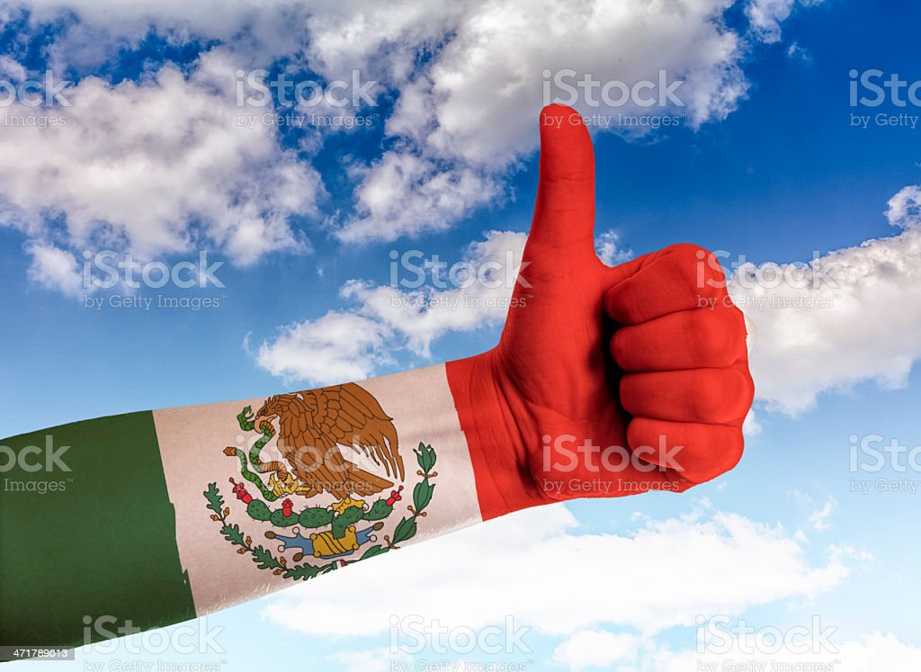 Thumbs up to the sky Mexico royalty-free stock photo