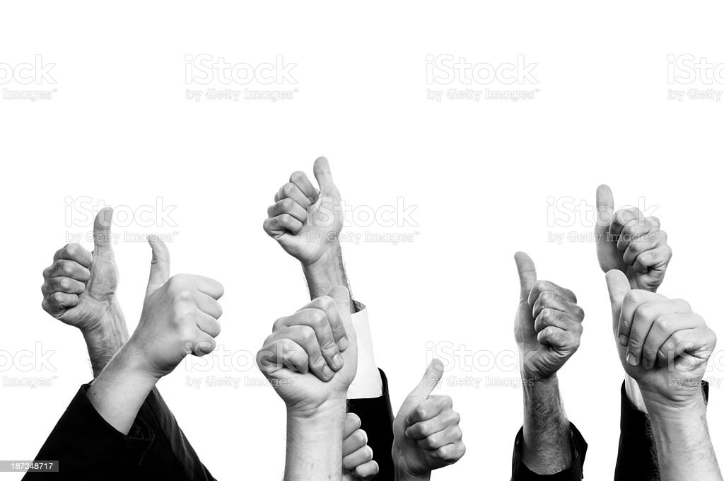 Thumbs Up.Black And White. royalty-free stock photo