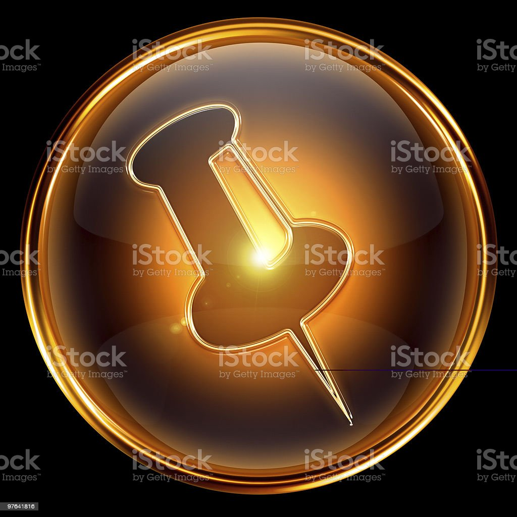 thumbtack icon golden, isolated on black background. royalty-free stock photo