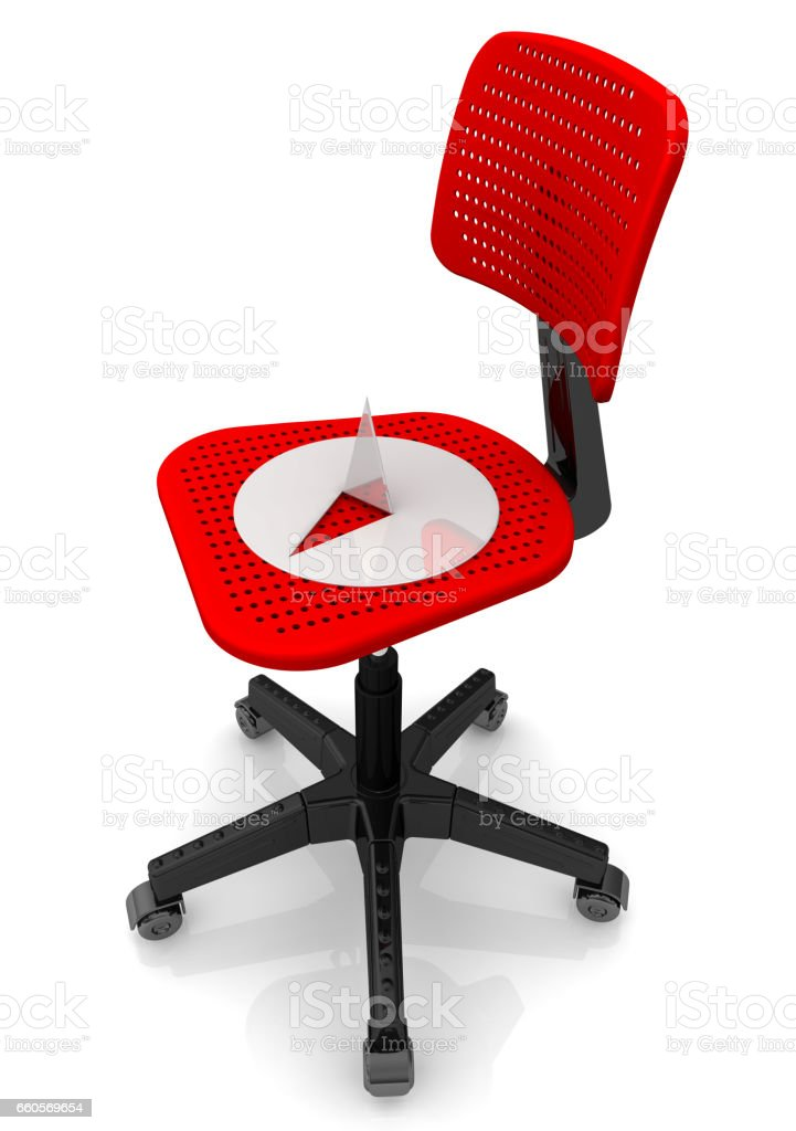 Thumbtack lying on an office chair stock photo