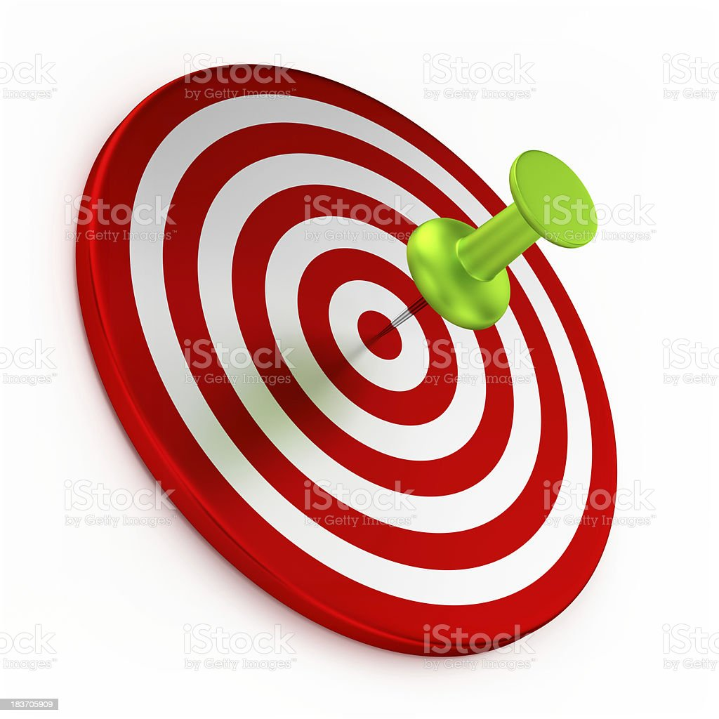 Thumbtack On Red Target royalty-free stock photo