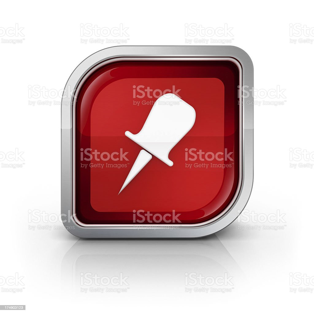 thumbtack or poi glossy red icon stock photo