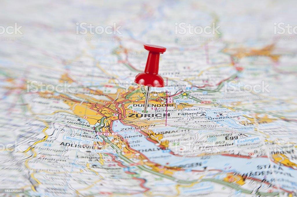 'thumbtack pointed on Zurich, Switzerland' stock photo