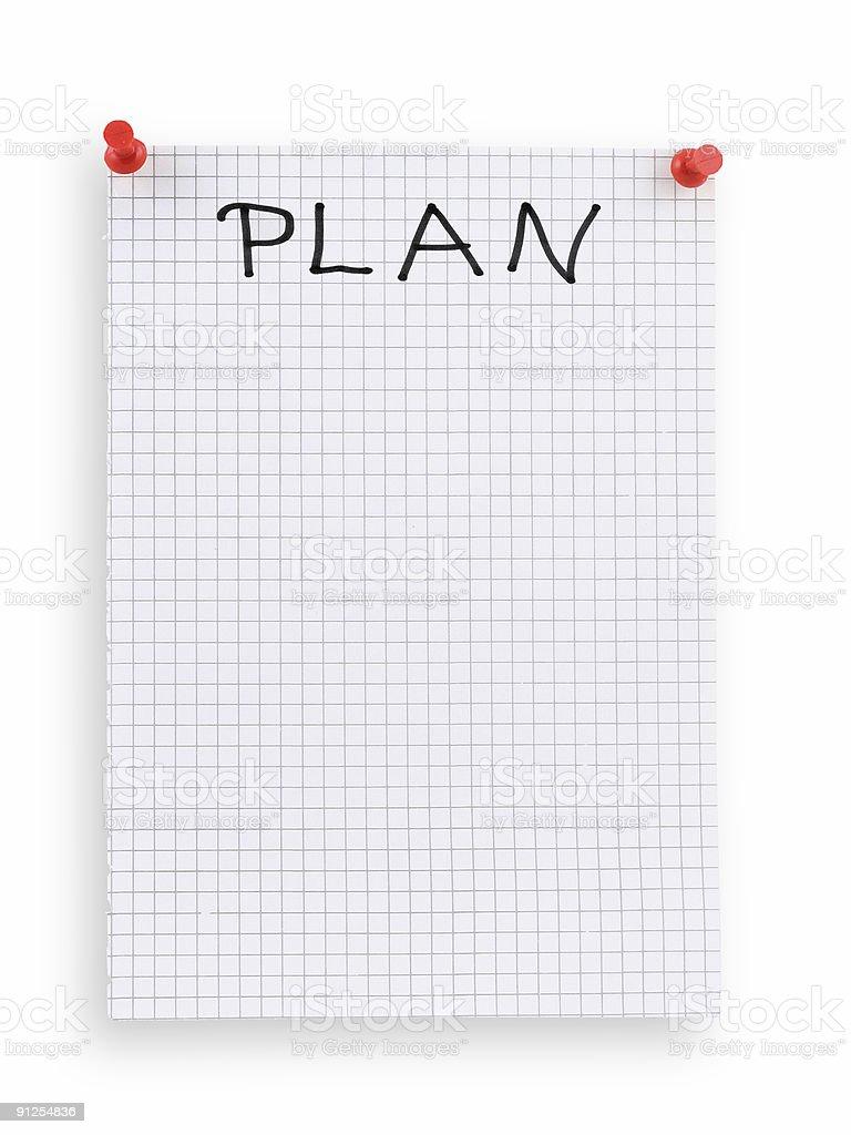 thumbtacked plan royalty-free stock photo