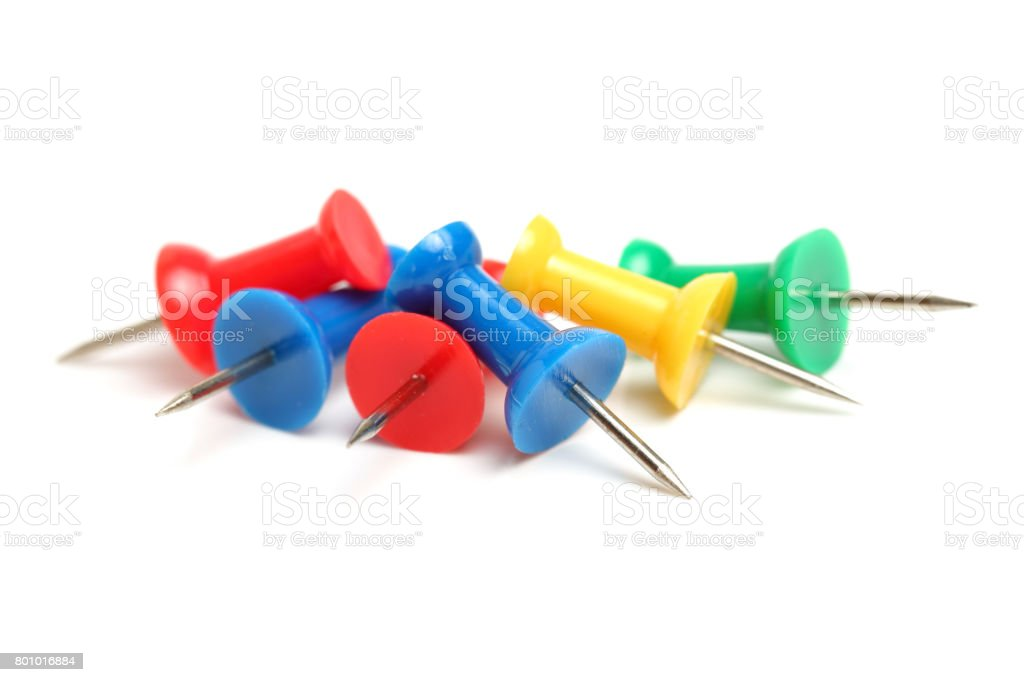 Thumbtacks, drawing pins on white background stock photo