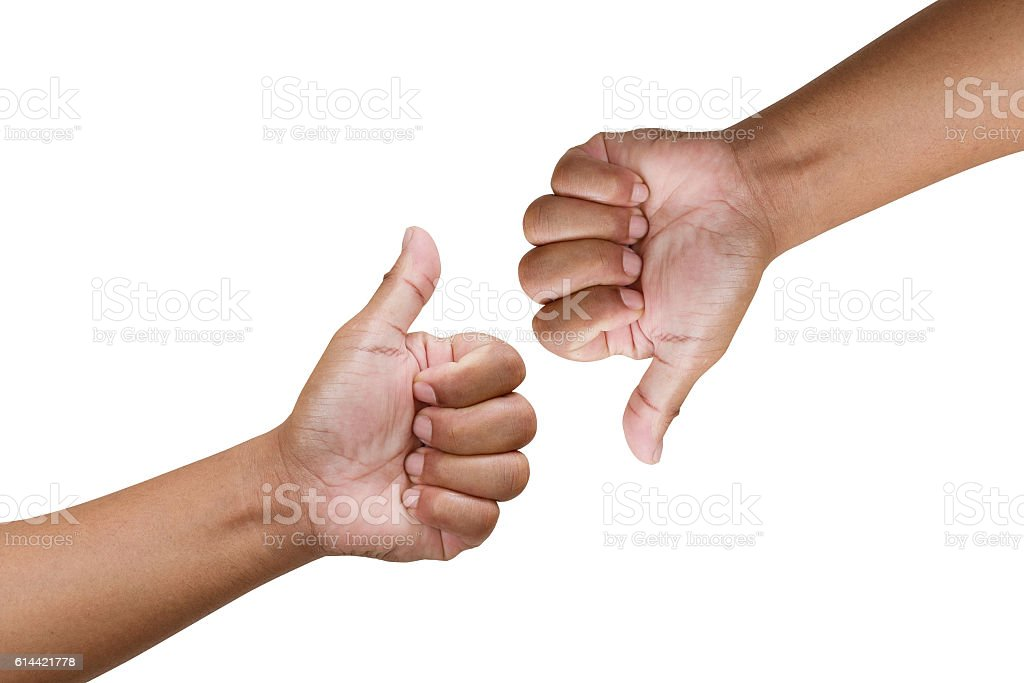 Thump up hand sign isolated on white stock photo
