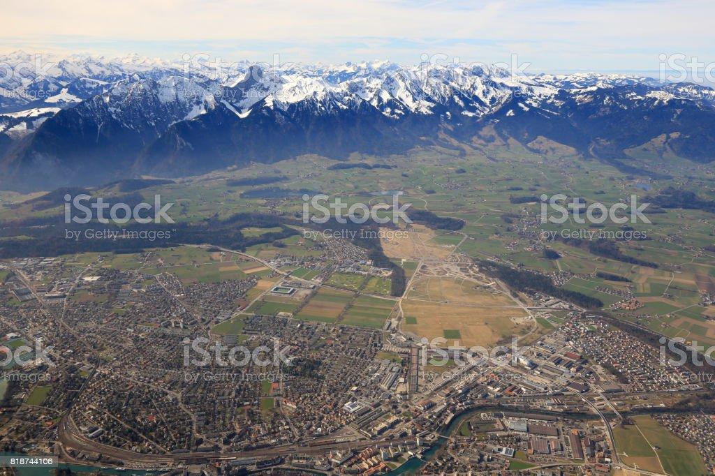 Thun Alps panorama overview mountains Switzerland town City panoramic stock photo