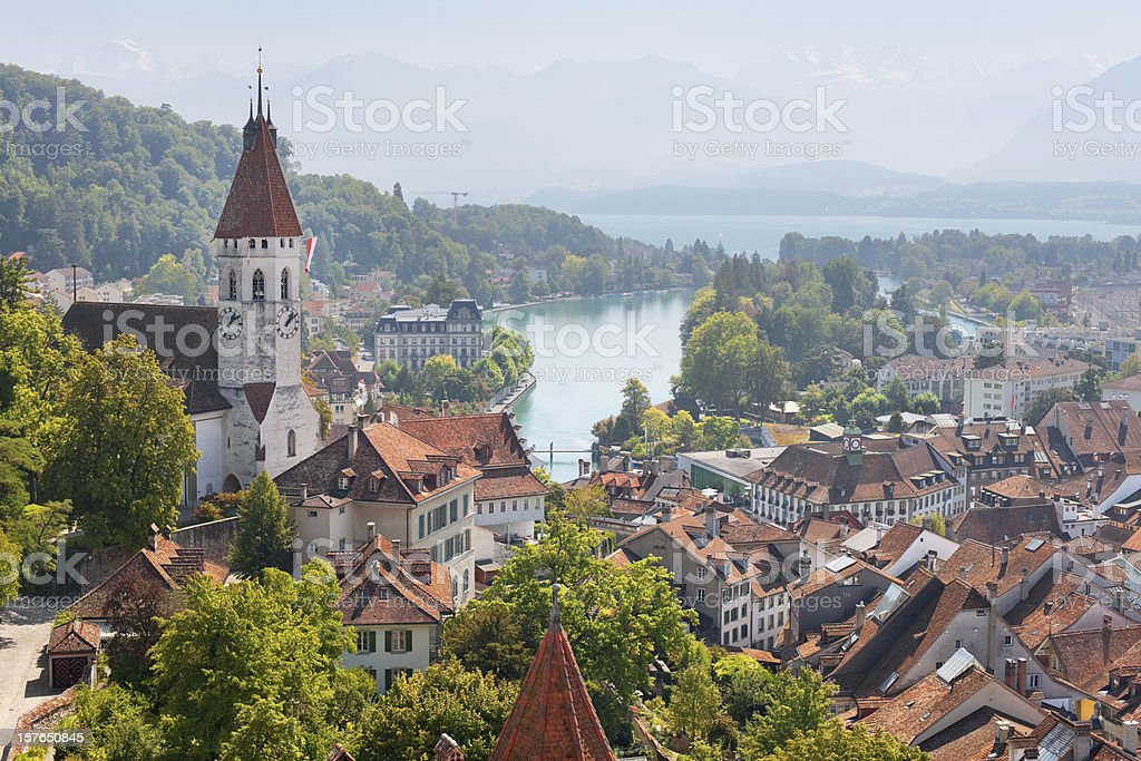 Thun and surroundings in september stock photo