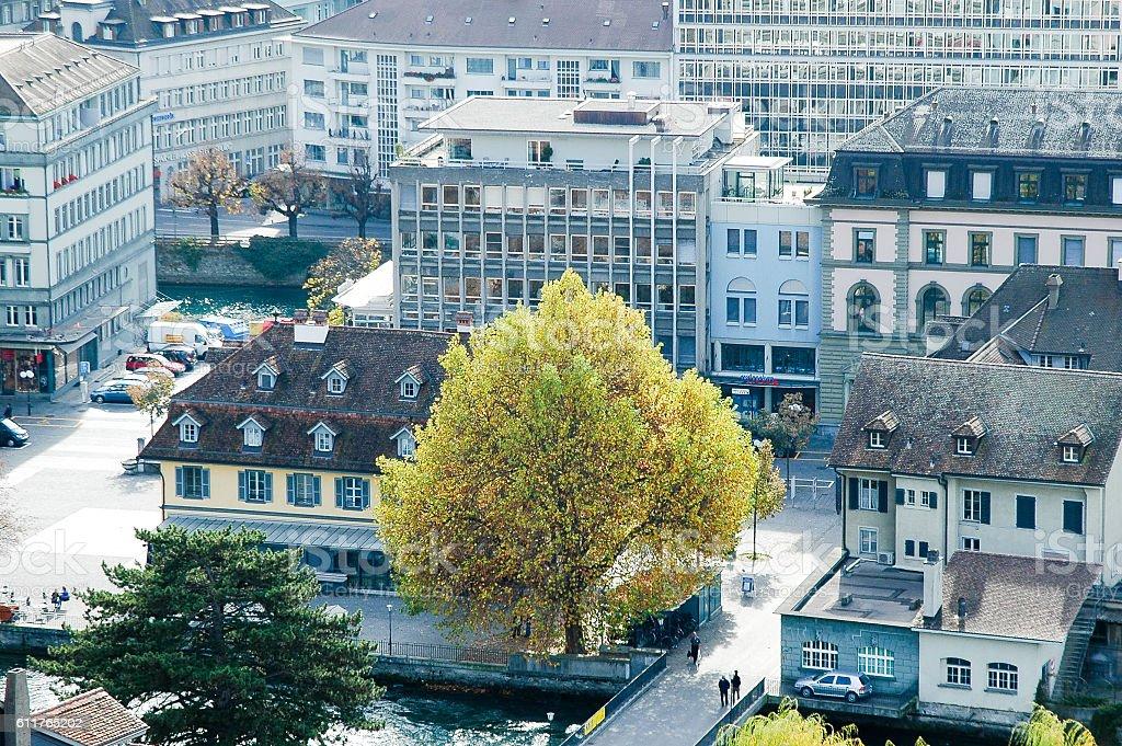 Thun City from Thun Castle in Autumn, Switzerland stock photo