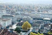 Thun City from Thun Castle in Autumn, Switzerland