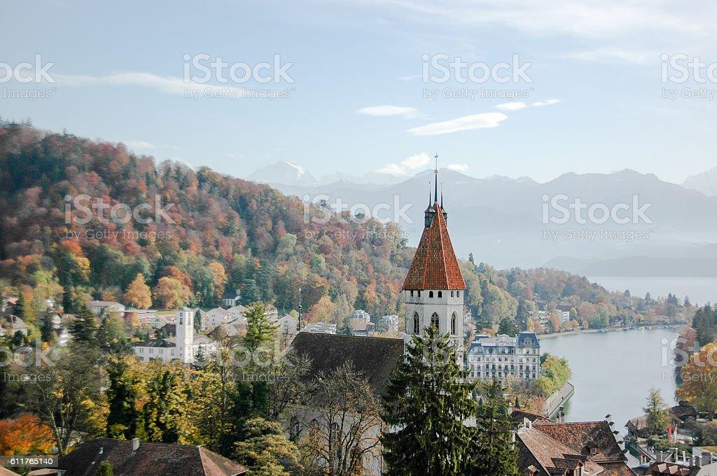 Thun Lake and Alps from Thun Castle in Autumn, Switzerland stock photo