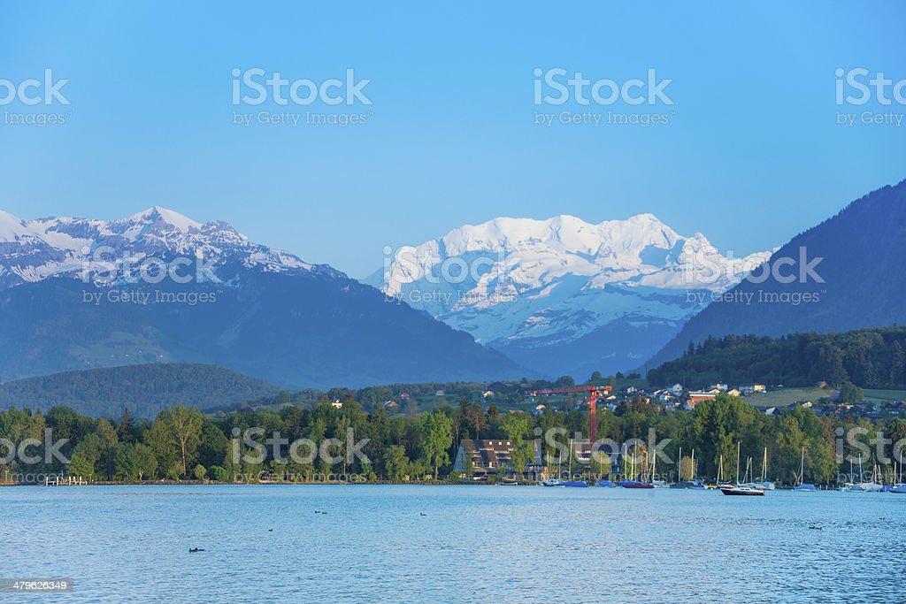 Thun lake and Alps snow caps royalty-free stock photo