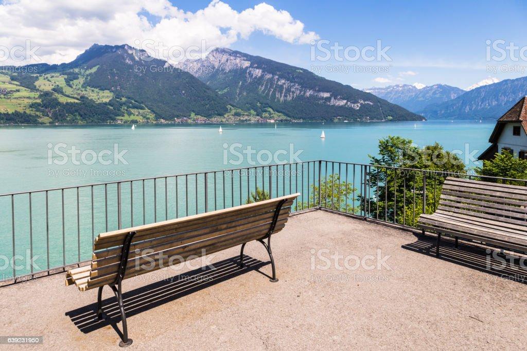 Thun lake in the alps in Switzerland stock photo