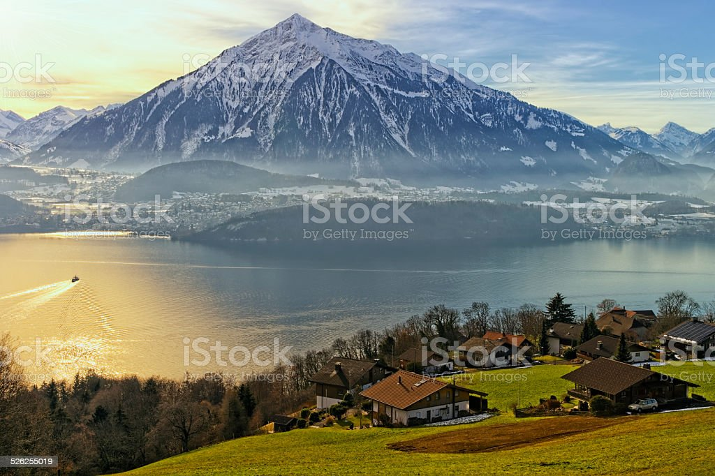 Thun lake view in winter stock photo