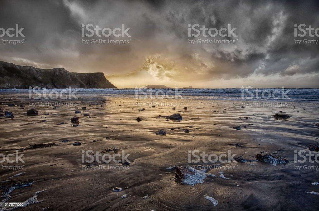 Thunder at Rhossili Bay stock photo