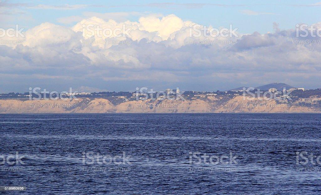 Thunder Clouds over La Jolla Torrey Pines Coast stock photo