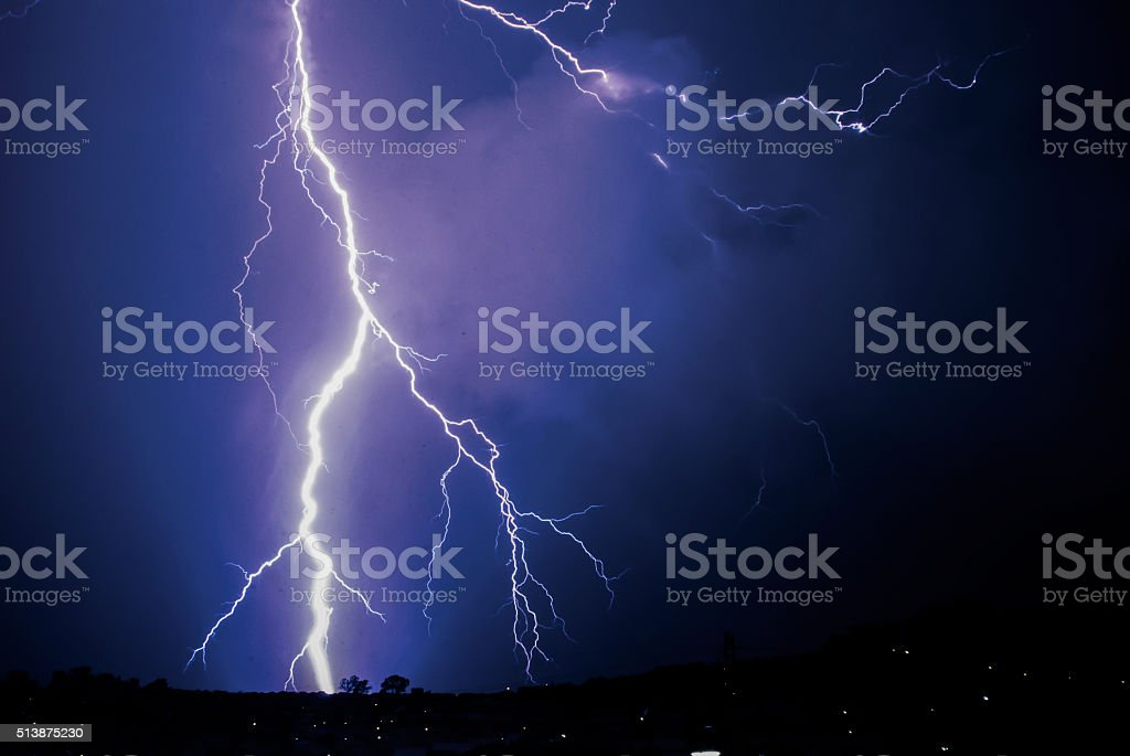 Thunder Flash Cloud to Ground Lightning stock photo