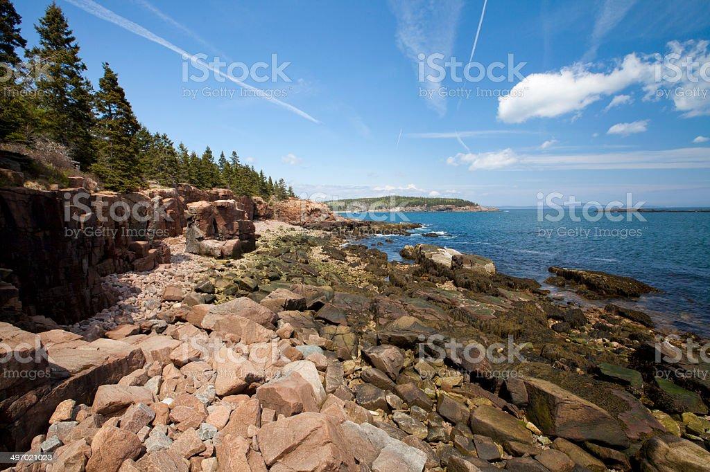 Thunder hole in Acadia National Park at Maine stock photo