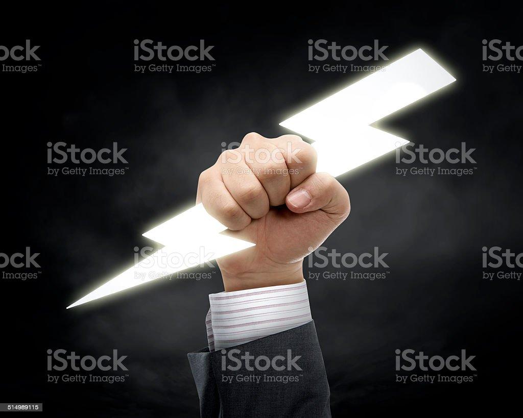 Thunder lightning in hand stock photo