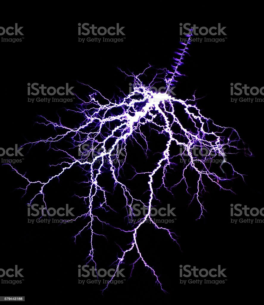 thunder lightning in the black sky stock photo