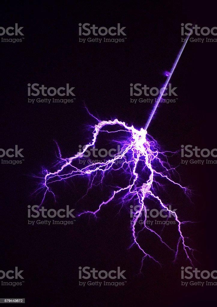 thunder lightning in the black sky stock photo