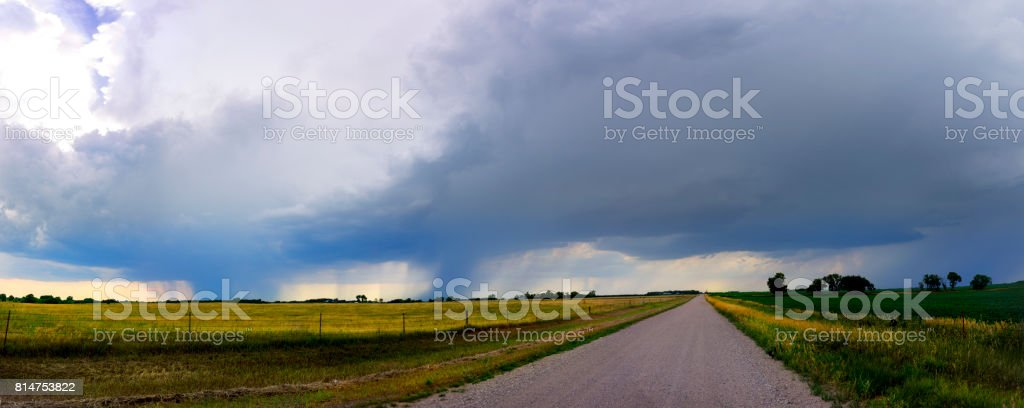 Thunder on a Country Road stock photo
