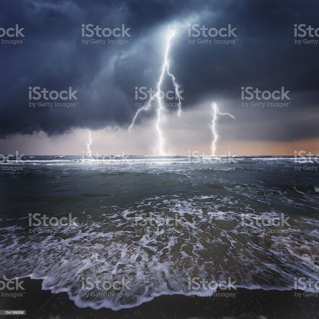 Thunder on the ocean stock photo