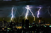 Thunder storm lighting bolt on the horizontal sky