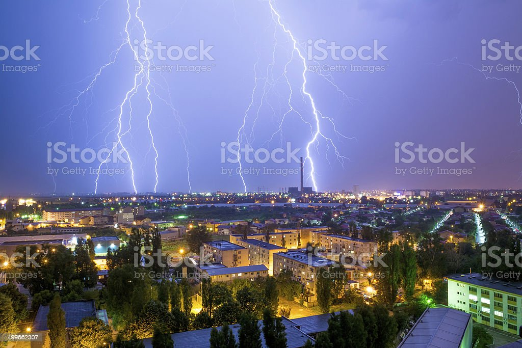 Thunder storm over Bucharest stock photo