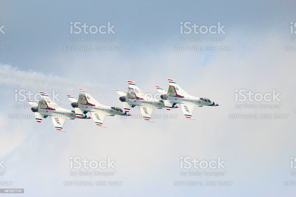 Thunderbird formation in Airshow stock photo