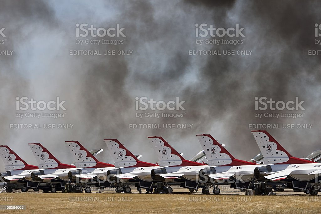 USAF Thunderbirds at airshow royalty-free stock photo