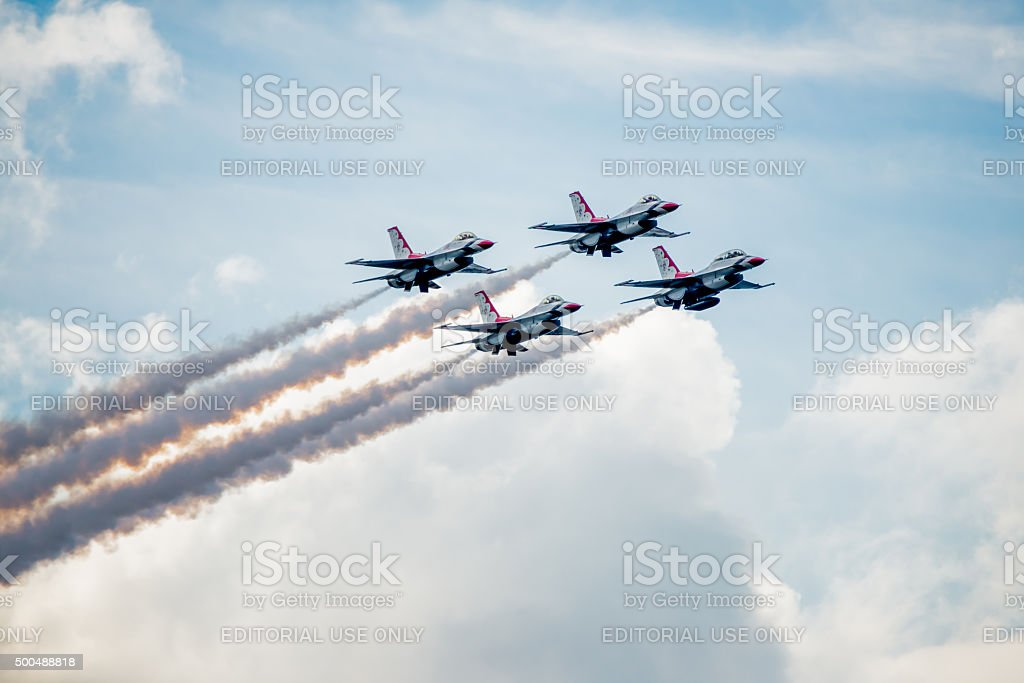 Thunderbirds Diamond Formation Above the Clouds stock photo