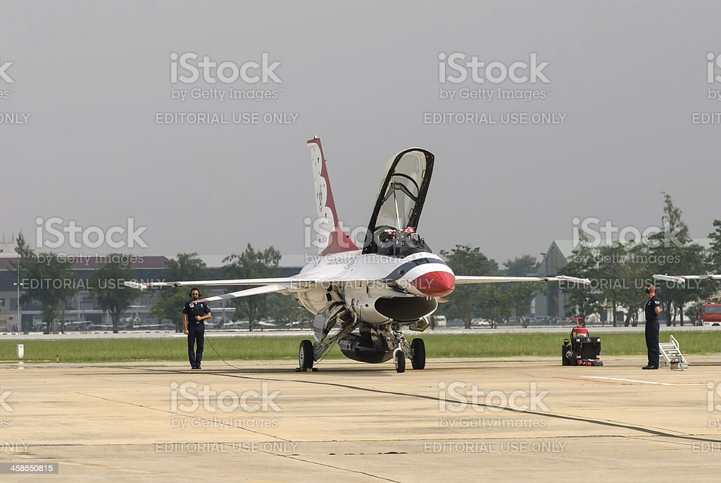 USAF Thunderbirds getting prepped for take off royalty-free stock photo