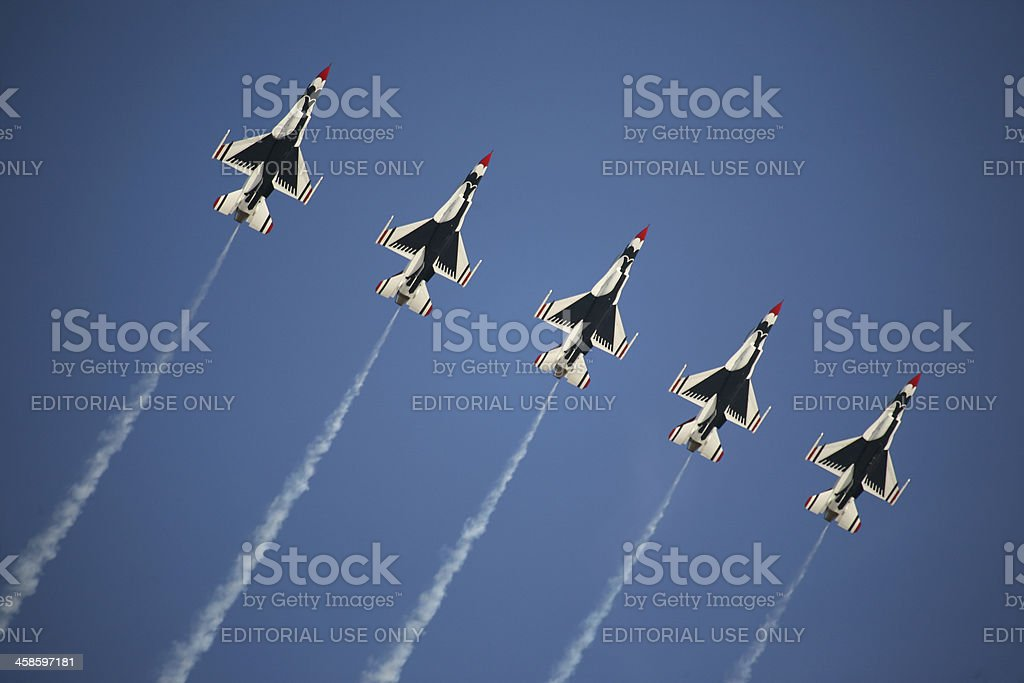USAF Thunderbirds in a Line Formation royalty-free stock photo