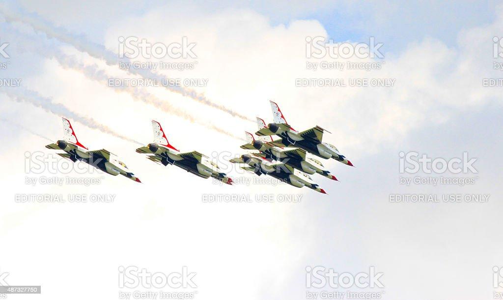 Thunderbirds in airshow stock photo